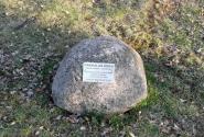 Камень с табличкой под большой березой. Он виден на предыдущей фотографии.