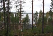 Взгляд на озеро и клуб с верхушки песчаной гряды.