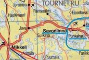 На карте синим выделен район Пункахарью - Савонлинна - Керимяки. Лусто (музей леса) и Ретретти (музей искусства) находятся вдоль 14 дороги от Пункахарью вверх к Савонлинне.