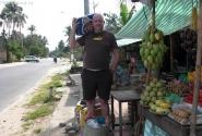 палатка по продаже фруктов, ну и пива