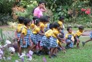 Группа детского сада на прогулке...