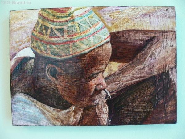 Картина того же художника. Картины выполенены на доске из красного дерева.