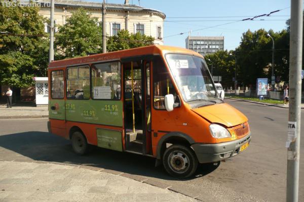 Такие автобусы ходят по городу. Но мы пошли пешком...
