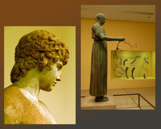 Самый древний возничий на территории Греции - справа, а слева - Аполлон Дельфийский.