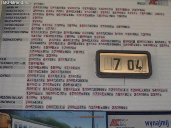 Варшава центральная, типичное расписание