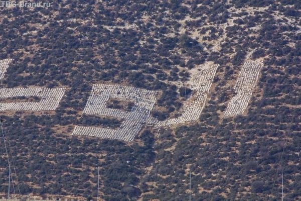 Буквы выложены из плит
