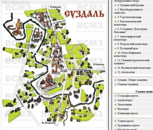 Карта Суздаля