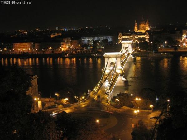 Будапешт. Вид на Цепной мост со смотровой площадки у фуникулера