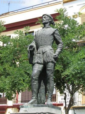 Испания. Севилья. Район Santa Cruz. Памятник Дон Жуану