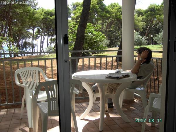 Терраса номера с видом на парк и на море