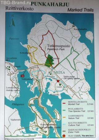 На этой карте дорога по гряде отходит от основного шоссе № 14 между Метлой (справа)  и Ретретти (слева - под указателем на Савонлинну).