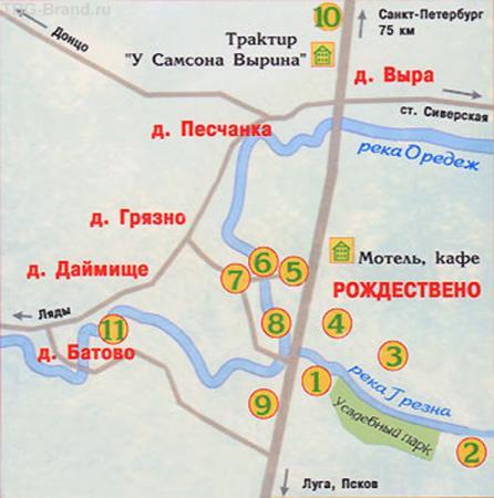 План местности в 75 км к югу от Петербурга.