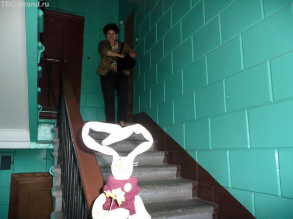 На незнакомой лестнице, где на 1-ом этаже живет нарисованный кот, которого видел Рантон