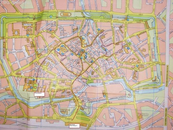Карта центральной части города.. Примерный маршрут.