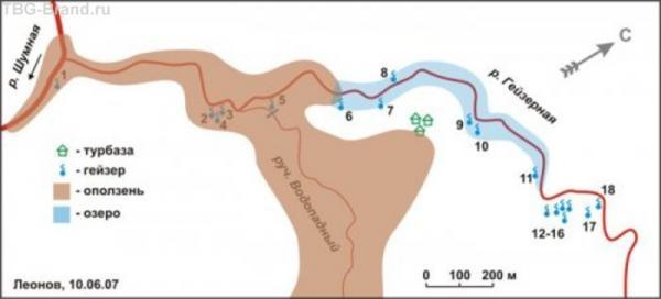 схема оползня в долине гейзеров