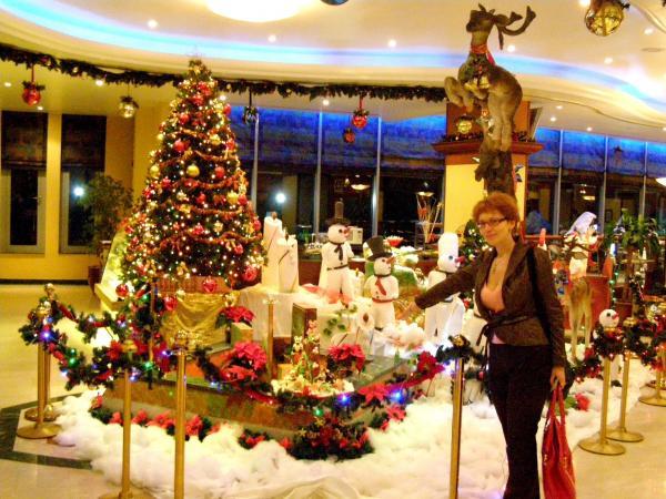 Алина и олени. Новогоднее украшение отеля