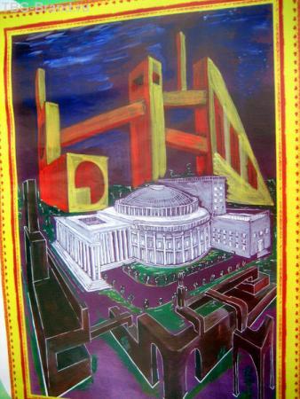 Детский рисунок Город будущего