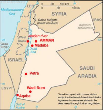Карта Иордании. Красным отмечено, где мы побывали