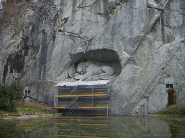 Люцерн, памятник швейцарцам, погибшим защищая короля Франции