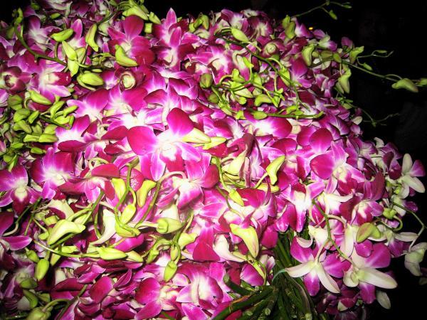 На рынке цветов