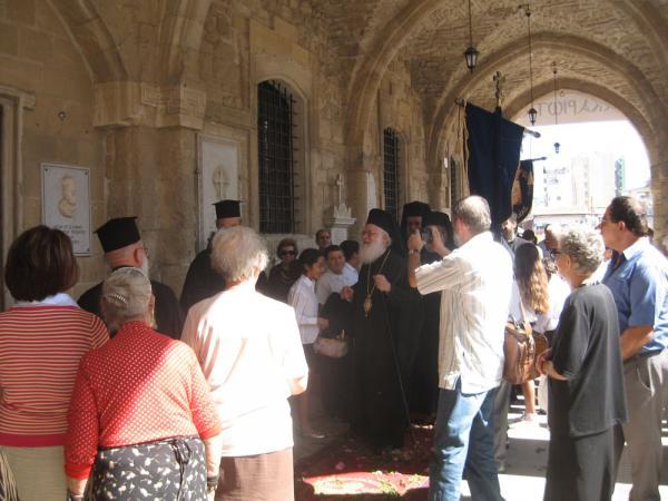 Приезд Архиепископа Кипра в церковь святого Лазаря в Ларнаке