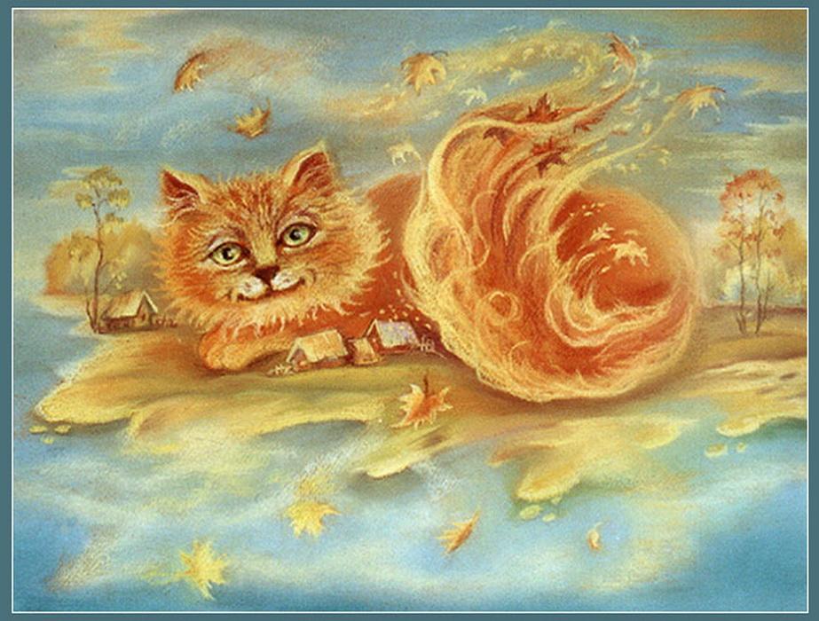 Предпросмотр схемы вышивки. ..., пейзаж кошка рисунок кот.